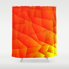 Bright yellow pattern of red triangles and irregularly shaped lines. Shower Curtain
