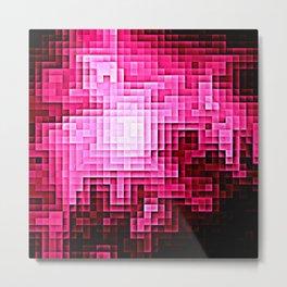 Magenta Pink Nebula Pixels Metal Print