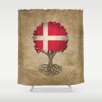 denmark Shower Curtains featuring Vintage Tree of Life with Flag of Denmark by Jeff Bartels