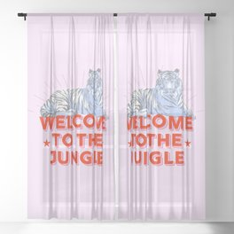 welcome to the jungle - retro tiger Sheer Curtain
