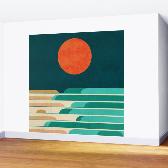 Chasing wave under the red moon Wall Mural