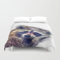 raccoon Duvet Covers featuring Raccoon  by jbjart