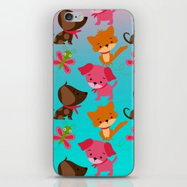 Kitty and Puppy Pattern iPhone Skin