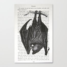 "Vampire Bat on Vintage ""Dracula"" Page Canvas Print"