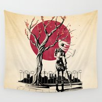 japanese Wall Tapestries featuring Japanese student by Rafapasta