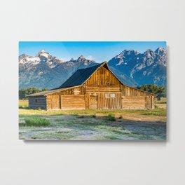Moulton Barn Sunrise Mountains Print Metal Print