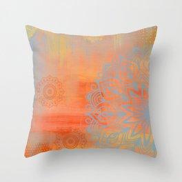 Blue and orange mandala Throw Pillow