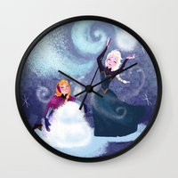 snowman Wall Clocks featuring Snowman by samanthadoodles