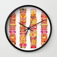 tiki Wall Clocks featuring Tiki Totems – Fiery Palette by Cat Coquillette