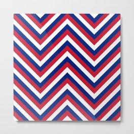 UK Union Jack Red White and Blue Jumbo Chevron Stripes Metal Print