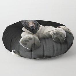 Black bear wearing polar bear costume Floor Pillow