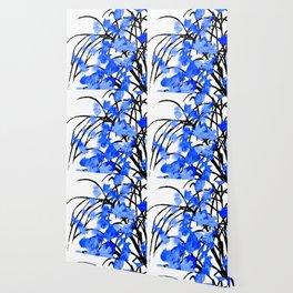Falling Leaves Blue Wallpaper