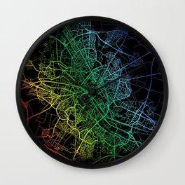 Reims, France, City, Map, Rainbow, Map, Art, Print Wall Clock