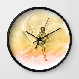 Wonderful fairy on a moon with dove Wall Clock