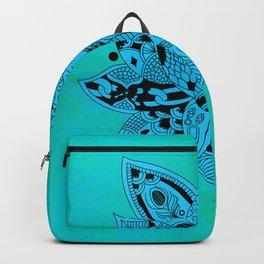 Aqua Mandala Metallic Mint Blue Backpack