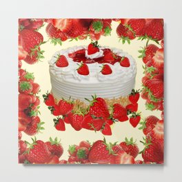 DELICIOUS STRAWBERRY  PARTY CAKE DESSERT Metal Print