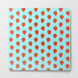 Strawberry pattern in blue background Metal Print