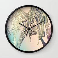 t rex Wall Clocks featuring T-REX  by T.E.Perry