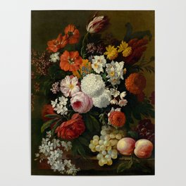 """Philip van Kouwenbergh """"Still life of flowers with roses, peonies, hollyhock, tulips, grapes..."""" Poster"""