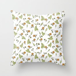 Fall flowers small print Throw Pillow