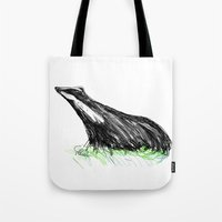 badger Tote Bags featuring Badger by James Peart