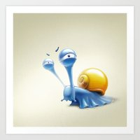snail Art Prints featuring snail by Antracit