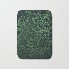 Green ornaments, dark Bath Mat