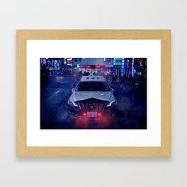 Tokyo Police Car in the fog Framed Art Print