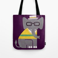 preppy Tote Bags featuring Rodney the preppy elephant by Picomodi