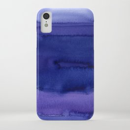 Blue Violet Watercolor Horizontal Stripes Abstract iPhone Case