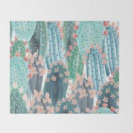 Watercolor Cactus Throw Blanket