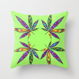 Patchwork Pot Leaves Throw Pillow