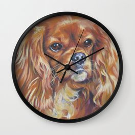 Beautiful Ruby Cavalier King Charles Spaniel Dog Painting by LA.Shepard Wall Clock