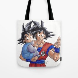 Goku and Goten, by Fran Fuentes Tote Bag