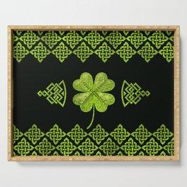 Irish Shamrock Four-leaf clover with celtic decor Serving Tray