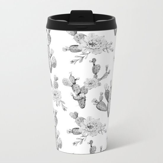 Cactus Rose Garden Black and White Metal Travel Mug