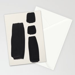 Mid Century Modern Minimalist Abstract Art Brush Strokes Black & White Ink Art Square Shapes Stationery Cards