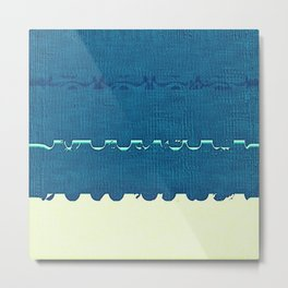 Blue Yellow Abstract Ocean Wave Pattern Metal Print