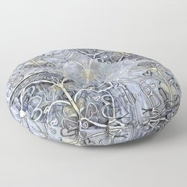 Silver ^ Pewter Butterfly Collage Floor Pillow