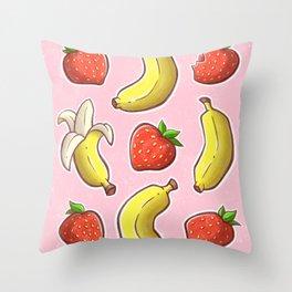 Strawberry and Banana Throw Pillow