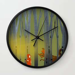 Red Cloak and Wolf Wall Clock