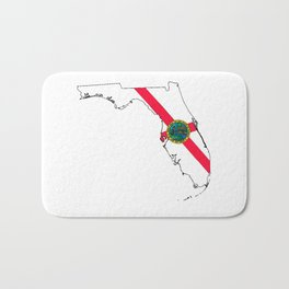 Florida Map with Floridian Flag Bath Mat