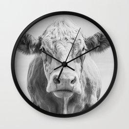 Animal Photography | Cow Portrait Minimalism | Farm animals | black and white Wall Clock