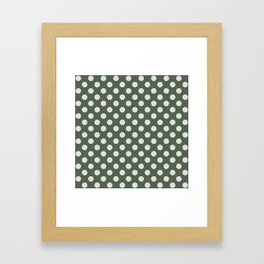 Large Polka Dots in Cream on Olive Green Framed Art Print