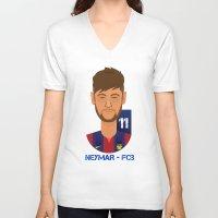 neymar V-neck T-shirts featuring Neymar Barcelona by Sport_Designs