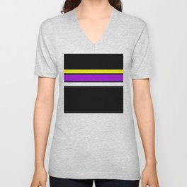 Team Colors 2 ...yellow , purple black background Unisex V-Neck