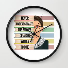 Feminist Ruth Bader Ginsburg RBG Quote Girl With Book Women Wall Clock