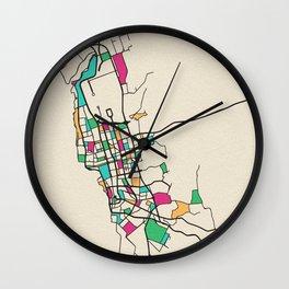 Colorful City Maps: Jeddah, Saudi Arabia Wall Clock