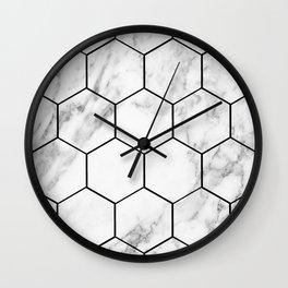 Marble hexagonal tiles - geometric beehive Wall Clock