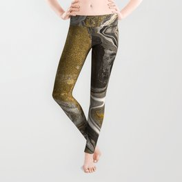 Marble abstract acrylic background. Nature marbling artwork texture. Golden glitter Leggings